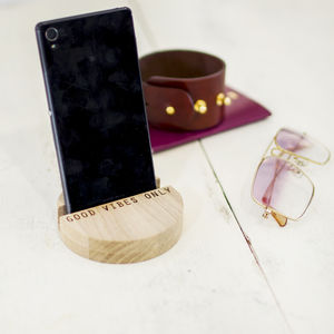 Phone, Tablet Personalised Oak Wood Stand - desk accessories