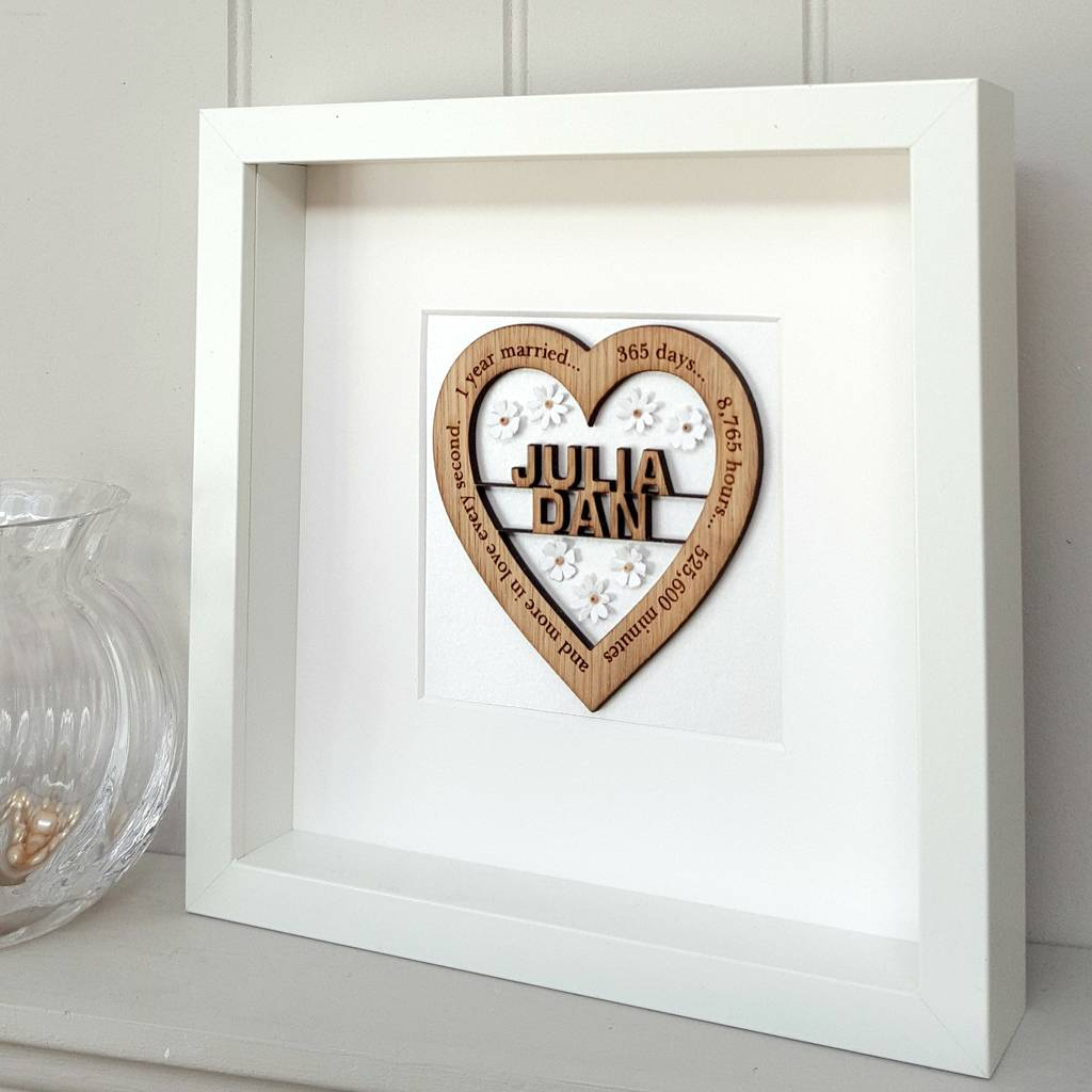 first wedding anniversary paper daisy oak heart by little foundry ...