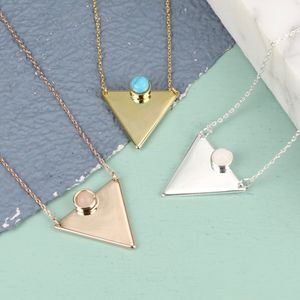 Triangle Necklace With Stone - necklaces & pendants
