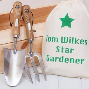 National Trust Garden Trowel, Fork And Personalised Bag - gardener