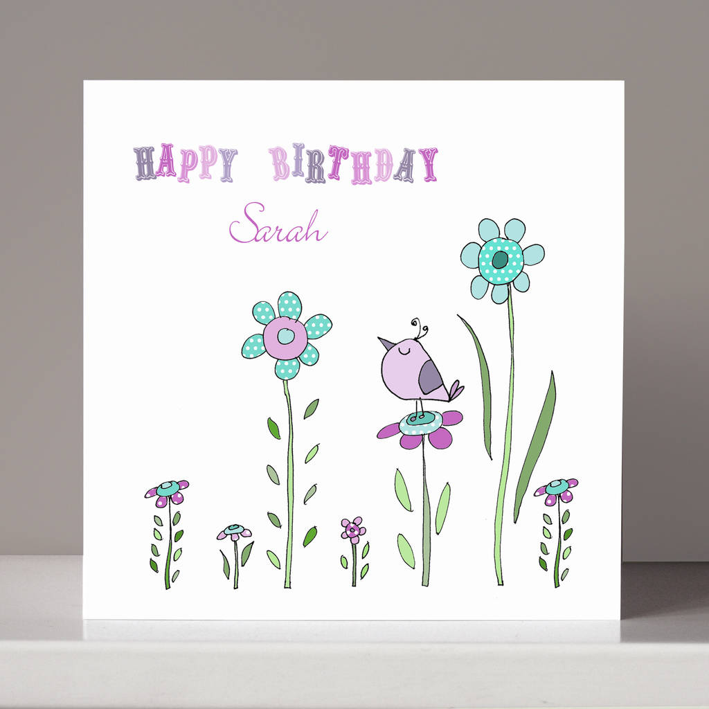 Personalised Little Bird Birthday Card By Molly Moo Designs