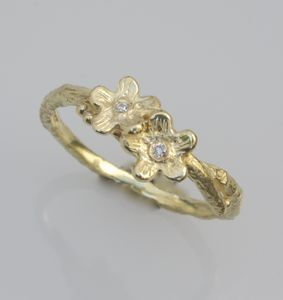 Gold And Diamond Wildflower Ring, April Birthstone - rings