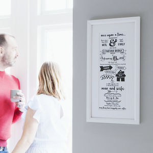 Personalised Typographic Story Of Us Print - mr & mrs