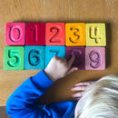 Handcrafted Wooden Number Cuboids In Rainbow