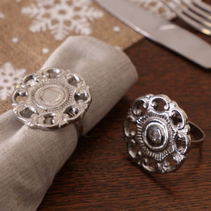 Pair Of Christmas Rose Napkin Rings - bed, bath & table linen