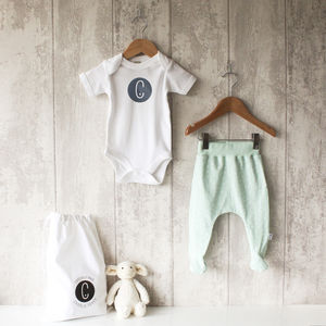 Personalised Mint Tri Bodysuit And Footed Leggings Set