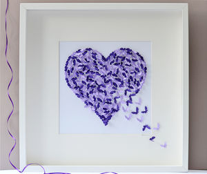 Two Tone Purple Butterfly Heart Picture - new in prints & art