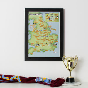 Personalised Scratch Off 92 Football Grounds Print - maps & locations