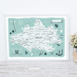 Dorset County Map Print - posters & prints
