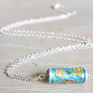 Enamel Charm Silver Necklace