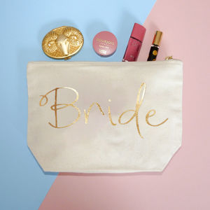 Personalised Bride Gold Foil Makeup Pouch