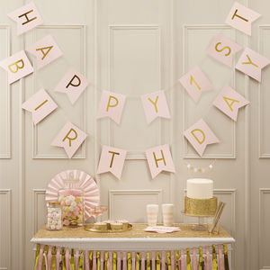 Pastel Pink And Gold 'Happy 1st Birthday' Bunting - decoration