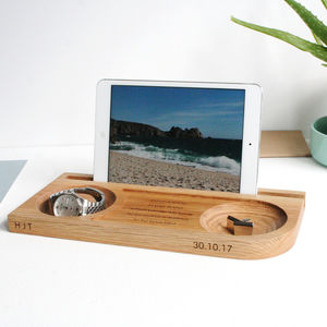 Watch, Tablet, Phone And Cufflinks Oak Stand - cufflink boxes & coin trays