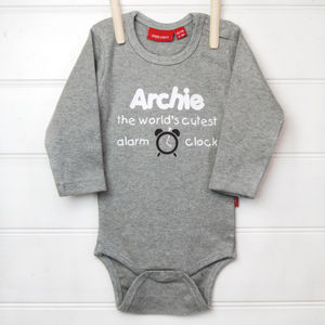 Personalised Alarm Clock Babygrow Or T Shirt - clothing