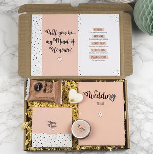 Personalised 'Will You Be My Maid Of Honor' Gift Set