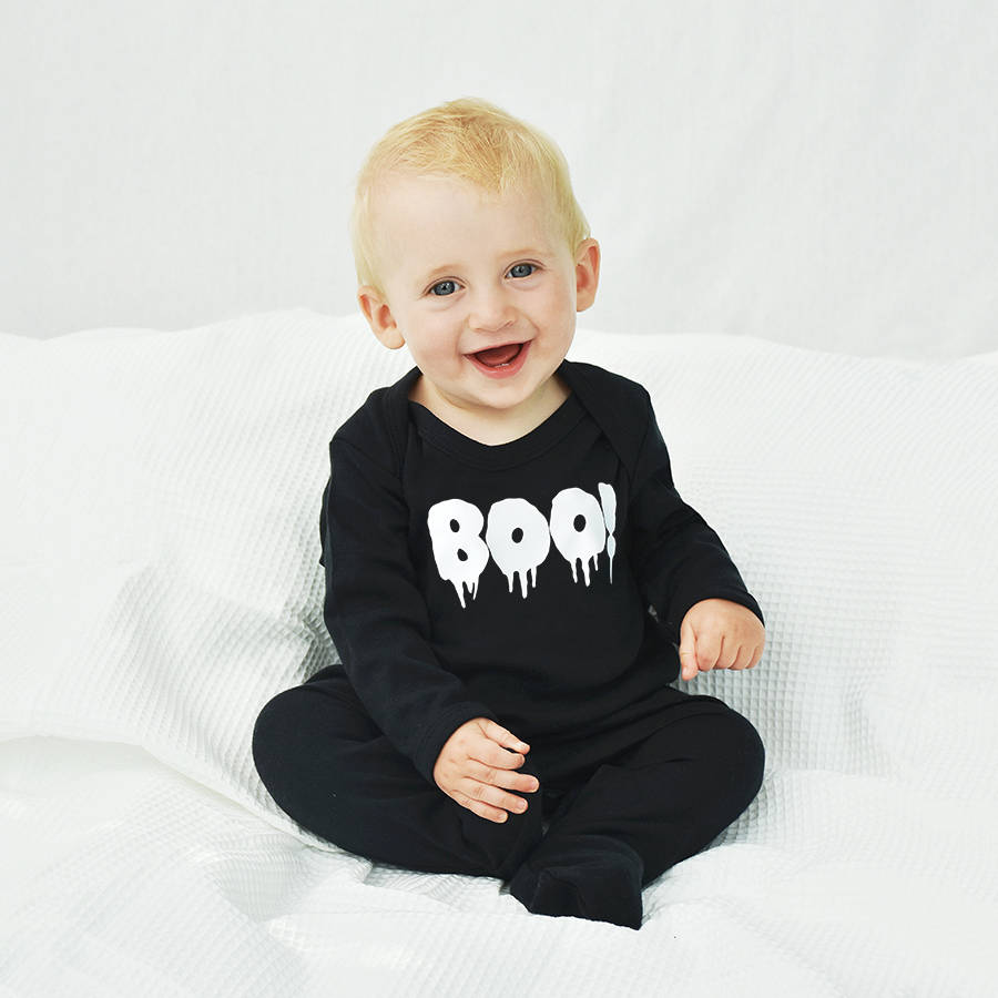 e83e7c3db boo!  halloween baby romper sleepsuit by ellie ellie ...