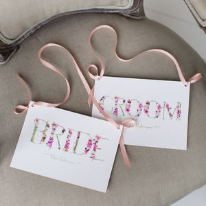 Personalised Floral Bride And Groom Wedding Signs - posters & prints