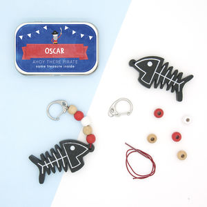Personalised Pirate Keyring Gift Kit - for children