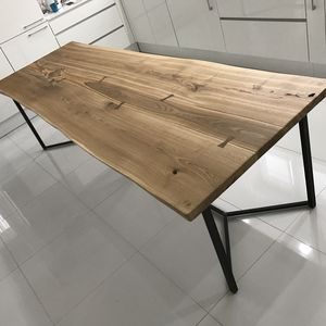 Solid Live Edge Oak Industrial Dining Table - dining room