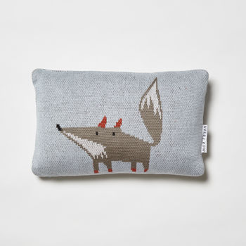 Friendly Fox Knitted Cushion