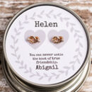Personalised Friendship Knot Earrings In Gift Tin