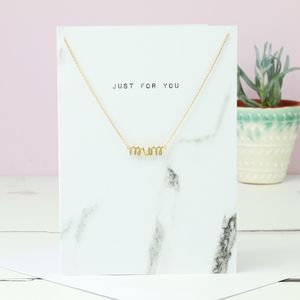 'Mum' Pendant Necklace And Greetings Card