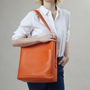 Luxury Orange Leather Tote Bag With Suede Lining