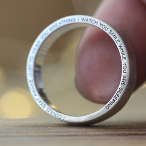Edge Engraved Silver Ring - rings