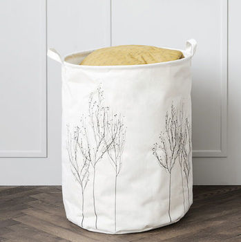 Cotton Storage Basket Embroidered With Silver Trees
