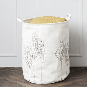 Cotton Storage Basket With Woodland Embroidery