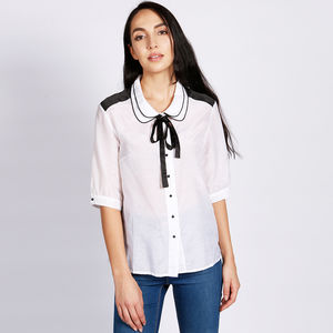 Carla Cotton Silk Blouse White Black - blouses & shirts