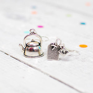 Teapot And Teabag Dangle Earrings