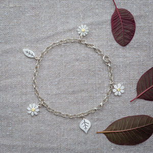 Flowers And Leaves Bracelet In Silver And 18ct Gold - bracelets & bangles