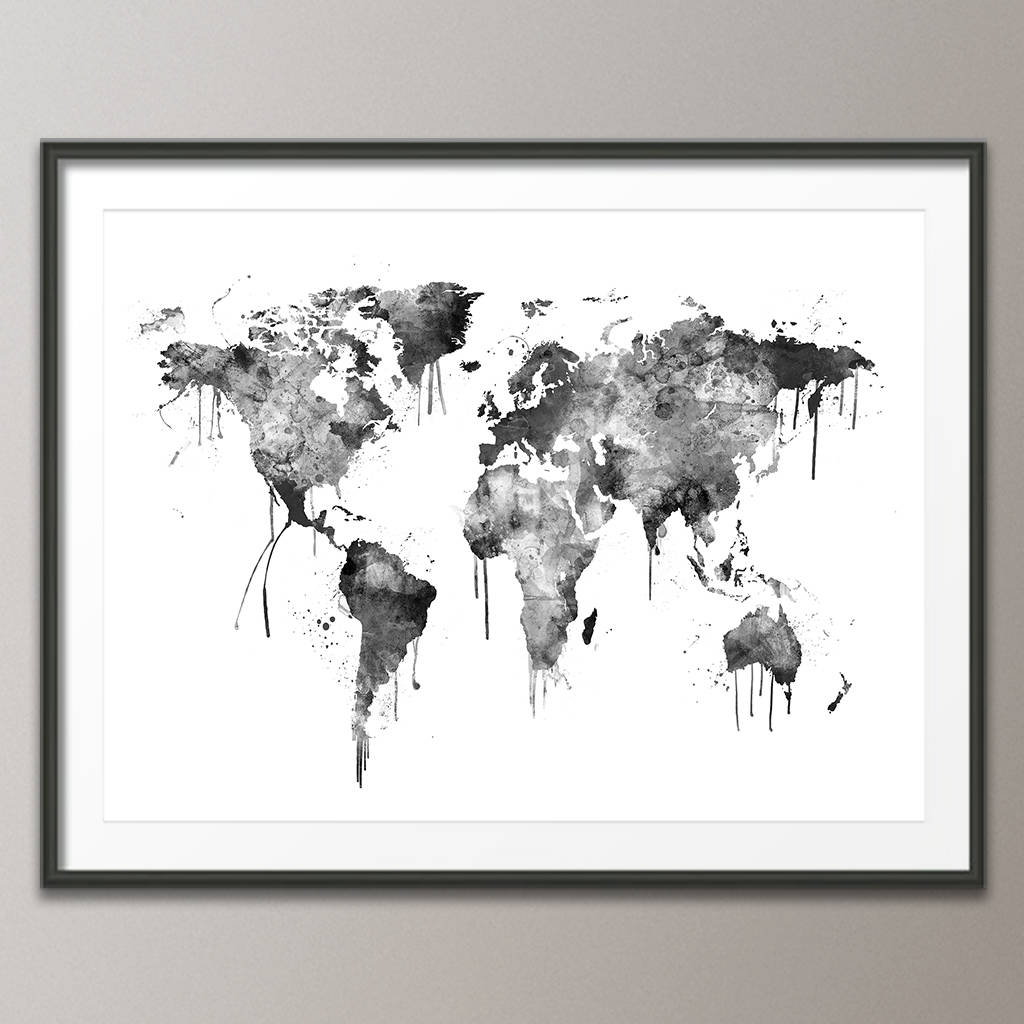 World map canvas art print by artpause notonthehighstreet world map canvas art print black and white version gumiabroncs Choice Image