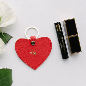 Personalised Real Leather Heart Keyring