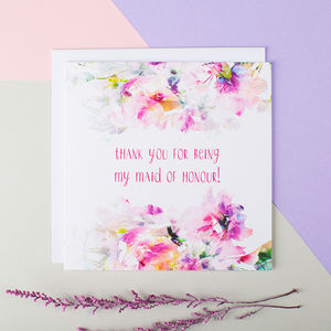 'Thank You For Being My Maid Of Honour' Card - wedding cards