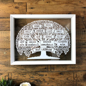 Large Family Tree Papercut - for her