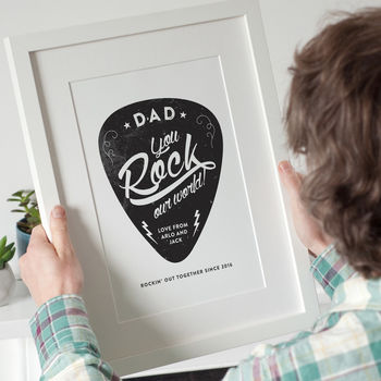 Personalised 'You Rock My World' Guitar Pick Print