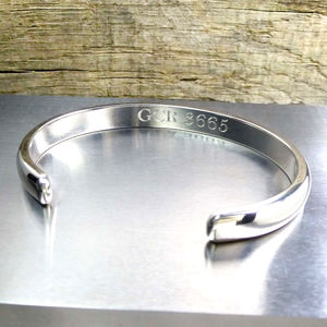 Mans Curved Silver Bracelet - personalised jewellery