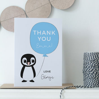 Personalised Teacher Thank You Penguin Card
