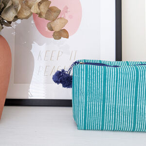 Stripe Wash Bag, Block Printed, Ethically Made