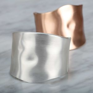 Stunning Textured Silver Or Rose Gold Cuff Bangle