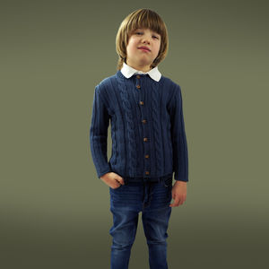 Handmade Organic Cabled Cardigan For Boys