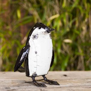 Penguin Handmade Recycled Metal Garden Ornament - sculptures & ornaments
