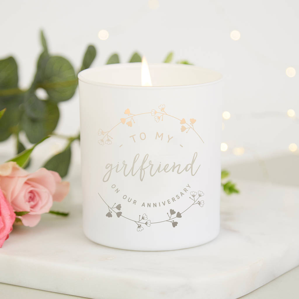 Girlfriend Anniversary Gift Personalised Candle