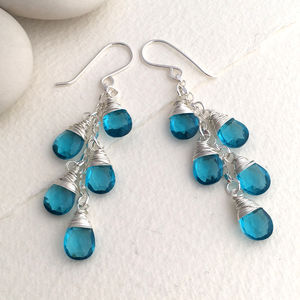 Peacock Quartz Waterfall Earrings - earrings