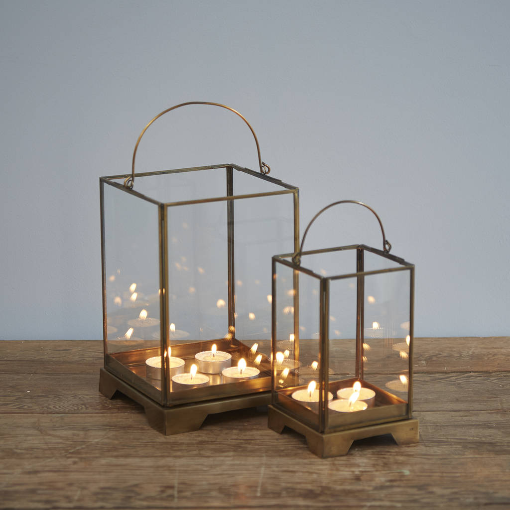 Handmade Antique Effect Brass Candle Lantern
