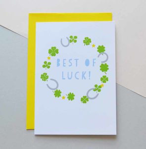 Best Of Luck Clover Horseshoes Card