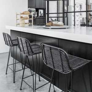 Best Scandi Bar Stool, Natural Or Black Rattan - kitchen