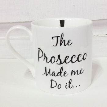Wine And Prosecco Themed Fine Bone China Mugs